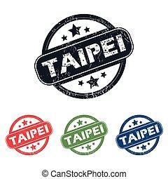 Round Taipei city stamp set - Set of four stamps with name...