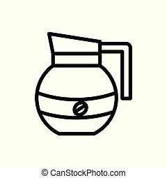 round teapot outline icon. vector illustration. Isolated on white background.