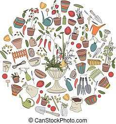 Round template with gardening tools, flower pots and vegetables