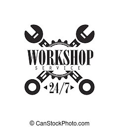 Round The Clock Car Repair Workshop Black And White Label Design Template With Crossed Wrenches