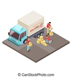 Round the clock delivery service and movers isometric vector concept