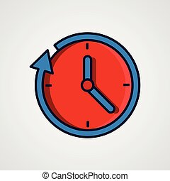 Round the clock flat style icon.