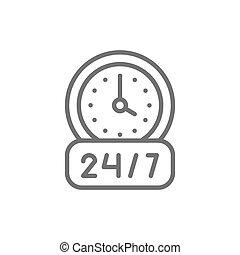 round-the-clock, service, isolé, icon., fond, ligne, blanc