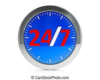 round-the-clock, servicio, icono, con, toque de luz