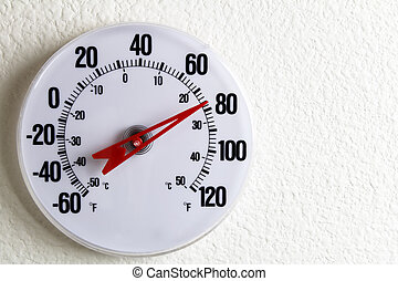 Round Thermometer on a Wall