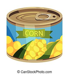 Round tin can with corn. Vector illustration on white background.