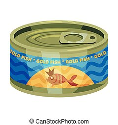 Round tin can with goldfish on the label. Vector illustration on white background.