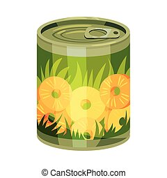 Round tin can with pineapple rings. Vector illustration on white background.