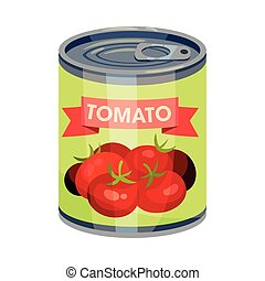 Round tin can with tomato. Vector illustration on white background.