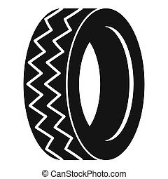 Round tire icon, simple style.