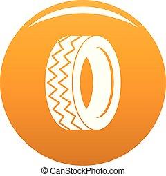 Round tire icon vector orange