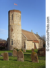 Round Tower Thatched Church - Norfolk - England