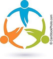 round., trabalho equipe, 3, grupo, pessoas