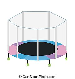 Round trampoline with safety enclosure isolated on white background. Fitness outdoor device for children's entertainment and sports exercises. Colorful vector illustration in flat cartoon style.