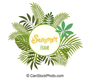 Round tropical frame, template with place for text. Vector illustration, isolated on white.