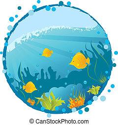 Round grunge underwater background with fishes, algae and corals