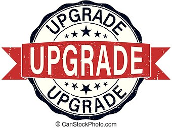round upgrade rubber stamp web badge