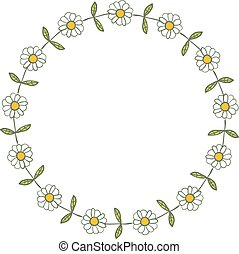 Round vector daisy wreath