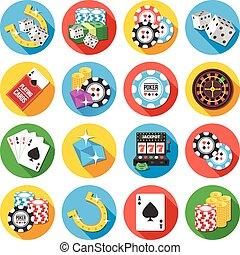 Round vector flat icons set. Poker