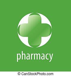 Round vector logo cross for pharmacy