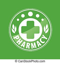 Round vector logo for pharmacies on a green background