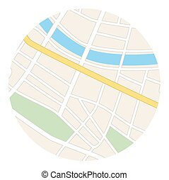 round vector map - streets