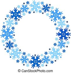 Round vector winter frame of snowflakes. Isolated.