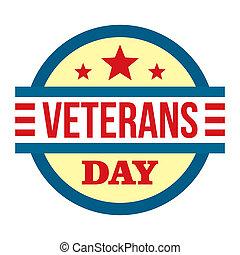 Round veterans day logo, flat style