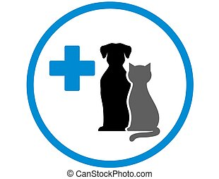 round veterinary icon with pets