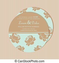 Round vintage floral wedding card