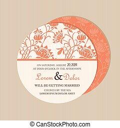 Round vintage floralwedding card