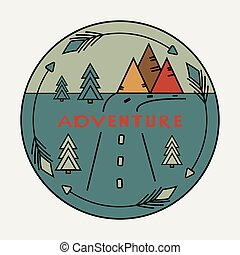 Round vintage sticker with Inscription Adventure. The road, the arrows around the mountains, fir trees. Symbol of free travel. Camper tourism. Van life label. To create Outdoor vinyl car stickers.