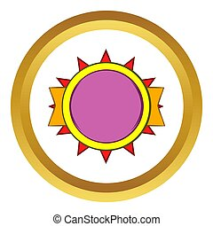 Round violet badge icon, cartoon style