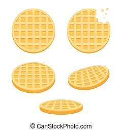 Belgium round waffles illustration set. Flat vector style cartoon icons, different angles.