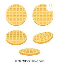 Round waffles set - Belgium round waffles illustration set....