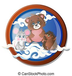 Round wall painting with cute little animals isolated on white background. Vector cartoon close-up illustration.