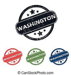 Round Washington city stamp set