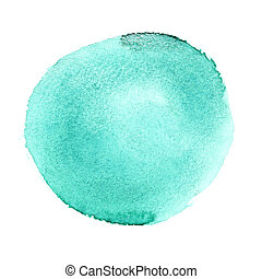 Round watercolor brush stroke - Green round watercolor brush...