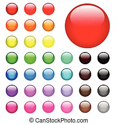 Round Web Buttons - Illustration of colorful round web...