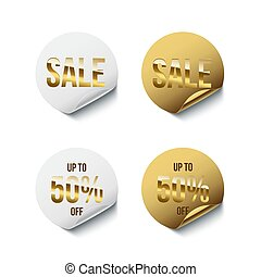 Round white and golden badges with golden Sale word and Up To 50 percent Off text isolated on white background. Vector design elements.