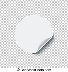 Round white blank sticker with curled edge isolated on transparent background. Vector design element.
