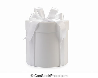 Round white box with bow isolated on background