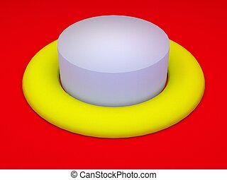 round white button on red surface