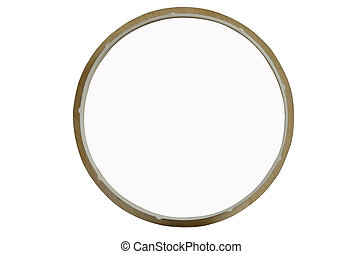 Round white canvas in wooden frame. Isolated object on white background. Place for labels.