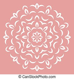 Round white flower pattern on pink background