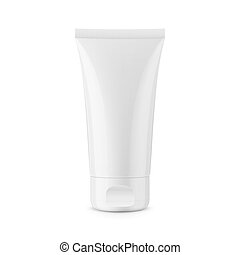 Round white glossy plastic jar for cosmetics