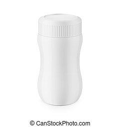 Round white glossy plastic jar template