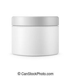 Round white matte plastic jar for cosmetics - Round white...