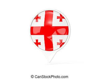 Round white pin with flag of georgia