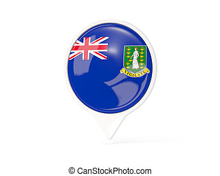 Round white pin with flag of virgin islands british